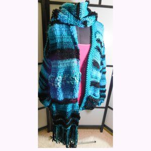SOFT Oversize Cuddly Turquoise Sweater Scarf L/XL